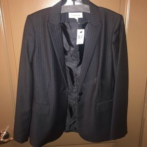 Black and Gray Pinstripe Skirt Suit
